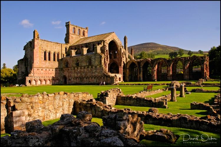 Melrose-Abbey-&-Eildon-Hills-a